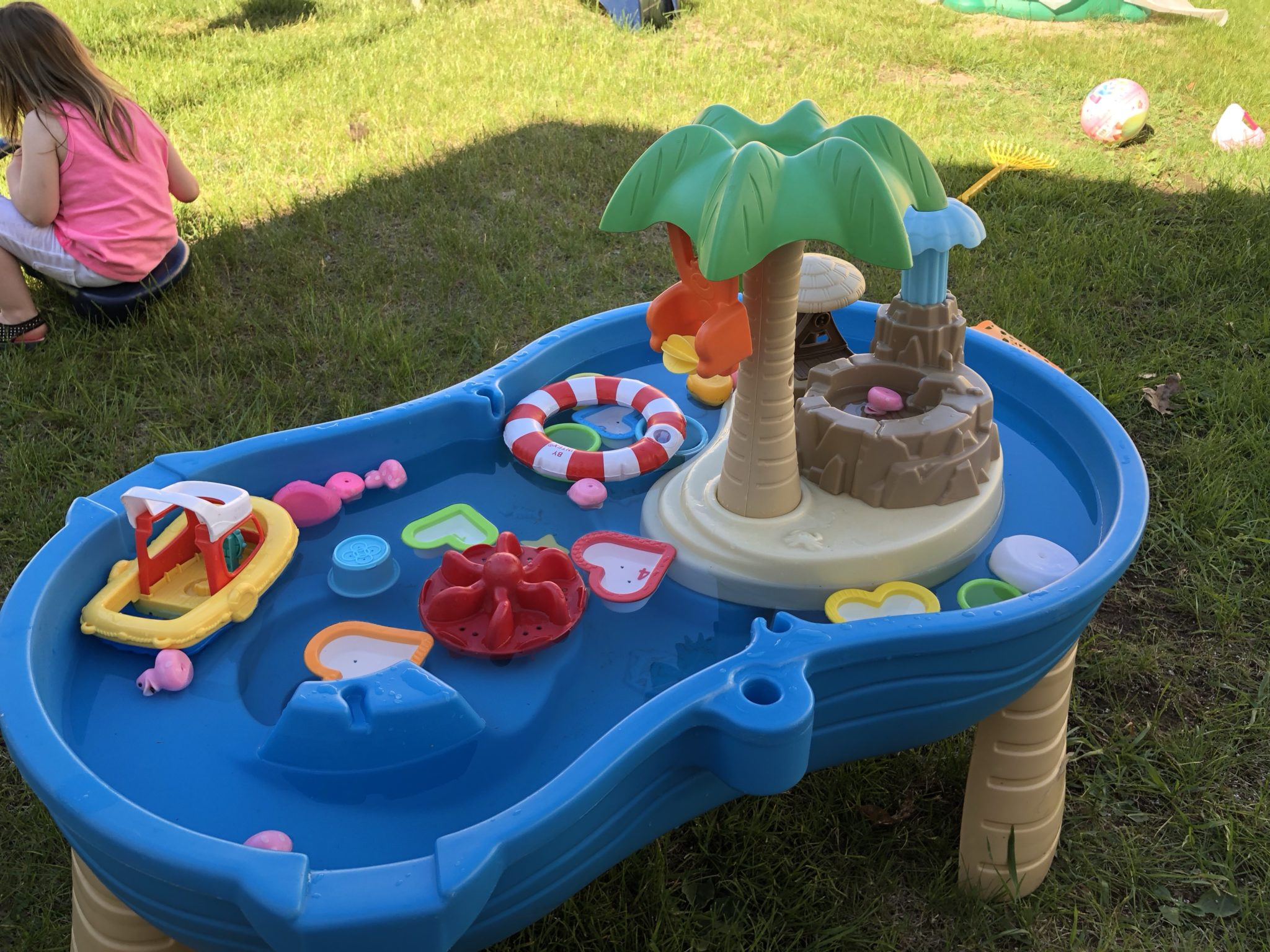 Water table filled with toys