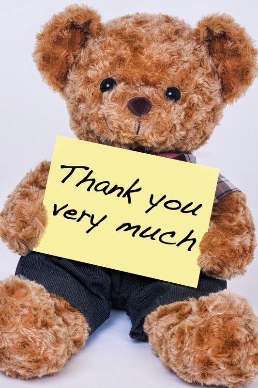"Teddy bear holding sign that reads, ""thank you very much."""