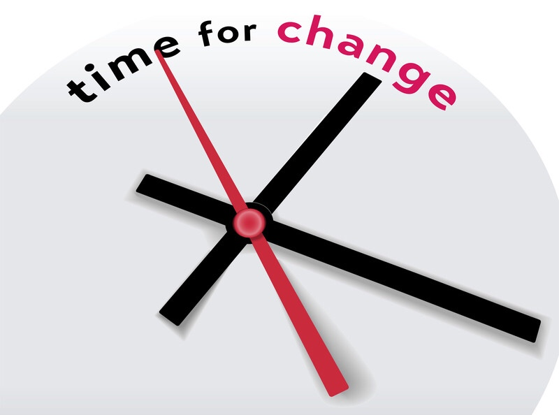 "A clock with hands pointing to the words, ""time for change."""