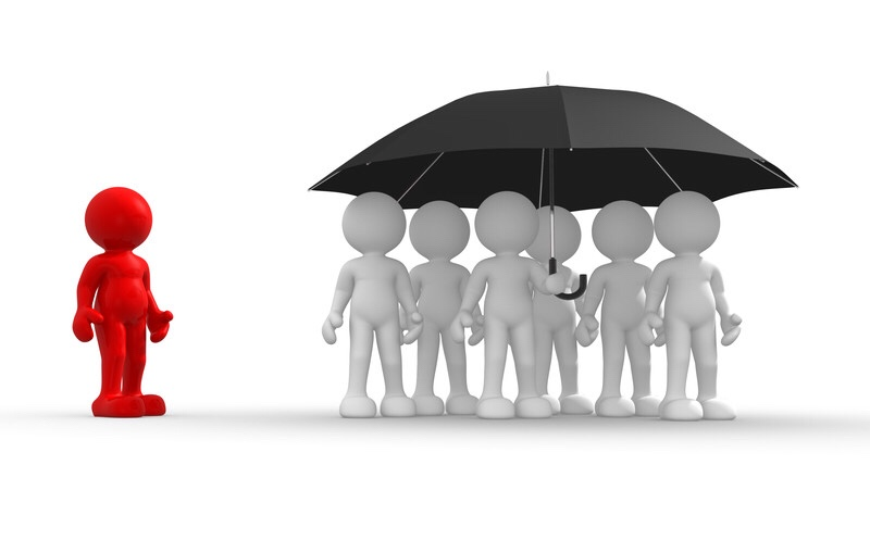 A group of cartoon people under an umbrella excluding someone who is different.