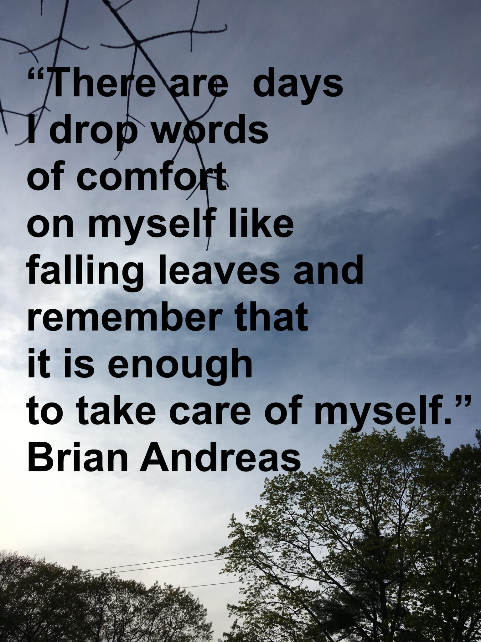 """There are days when I drop words of comfort on myself like falling leaves and remember that it is enough to take care of myself."" Brian Andreas"