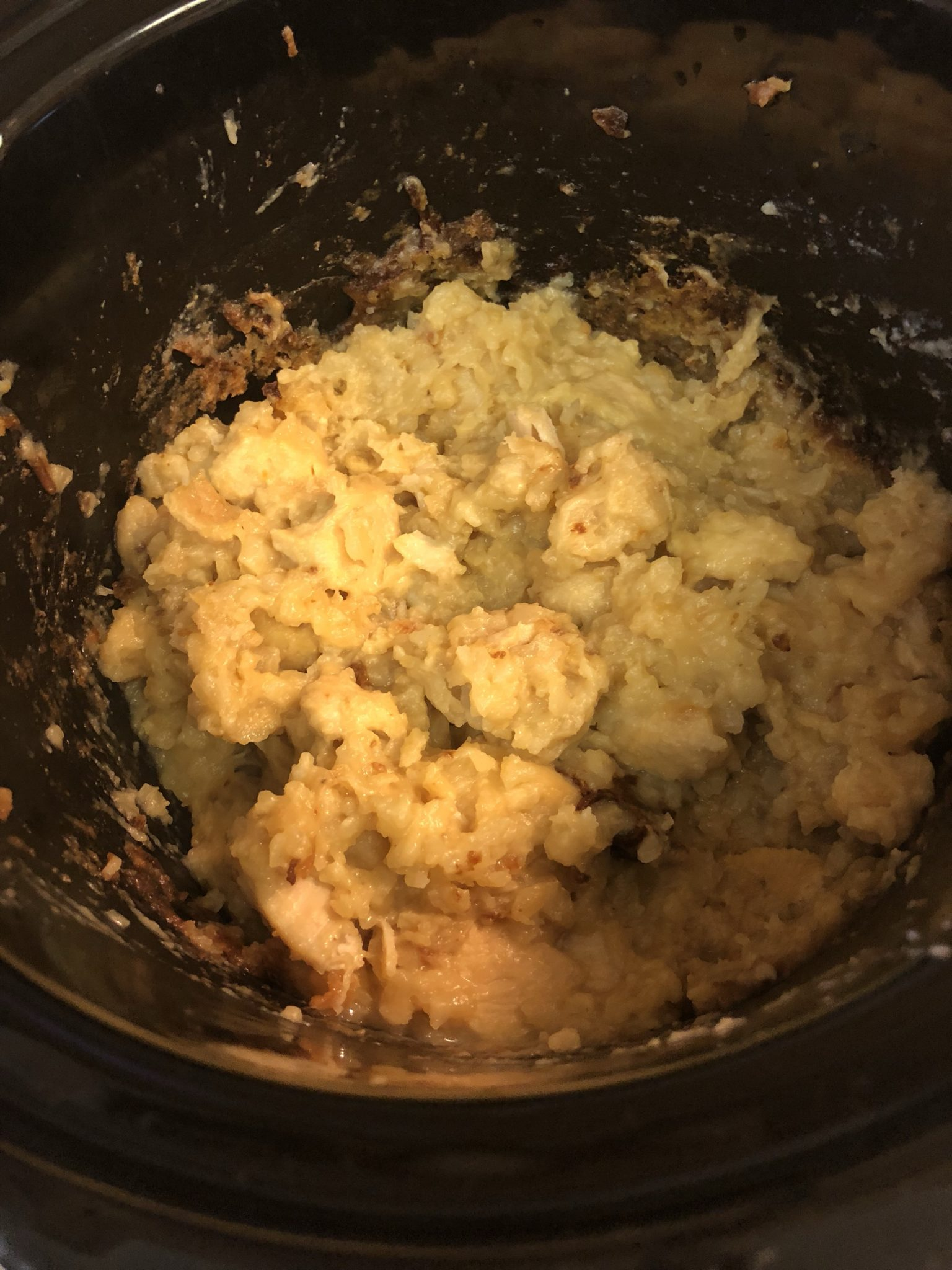 Cooked casserole in the crockpot