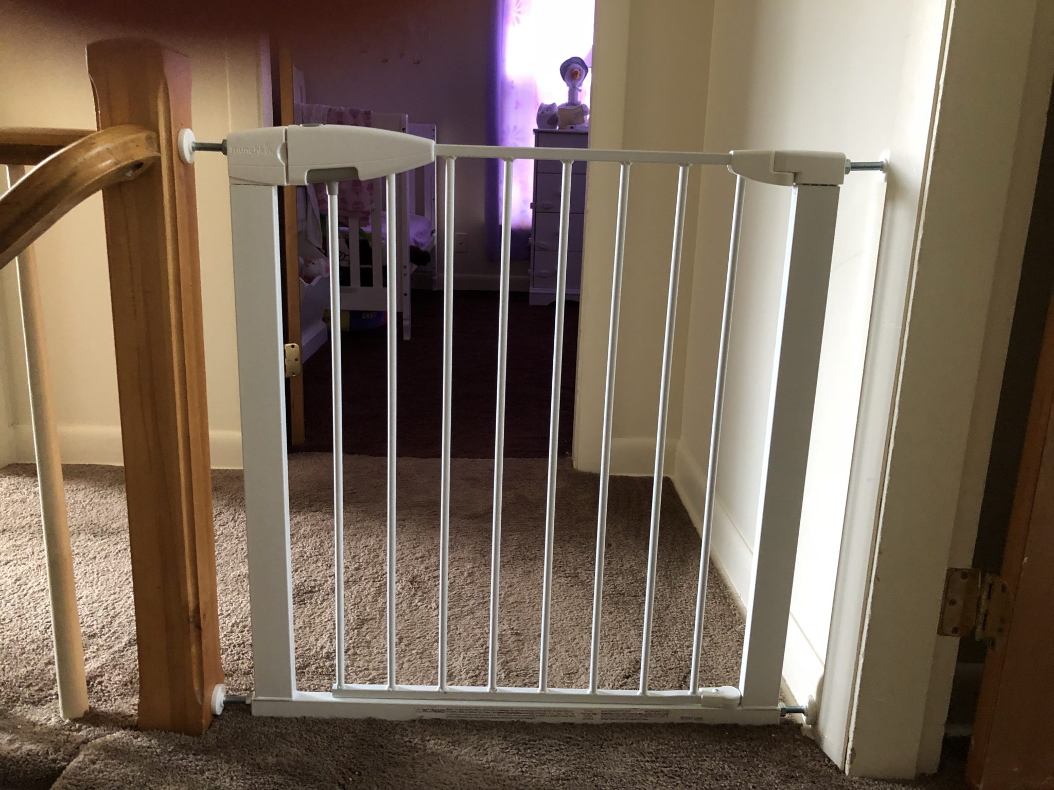 Baby gate separating rooms.