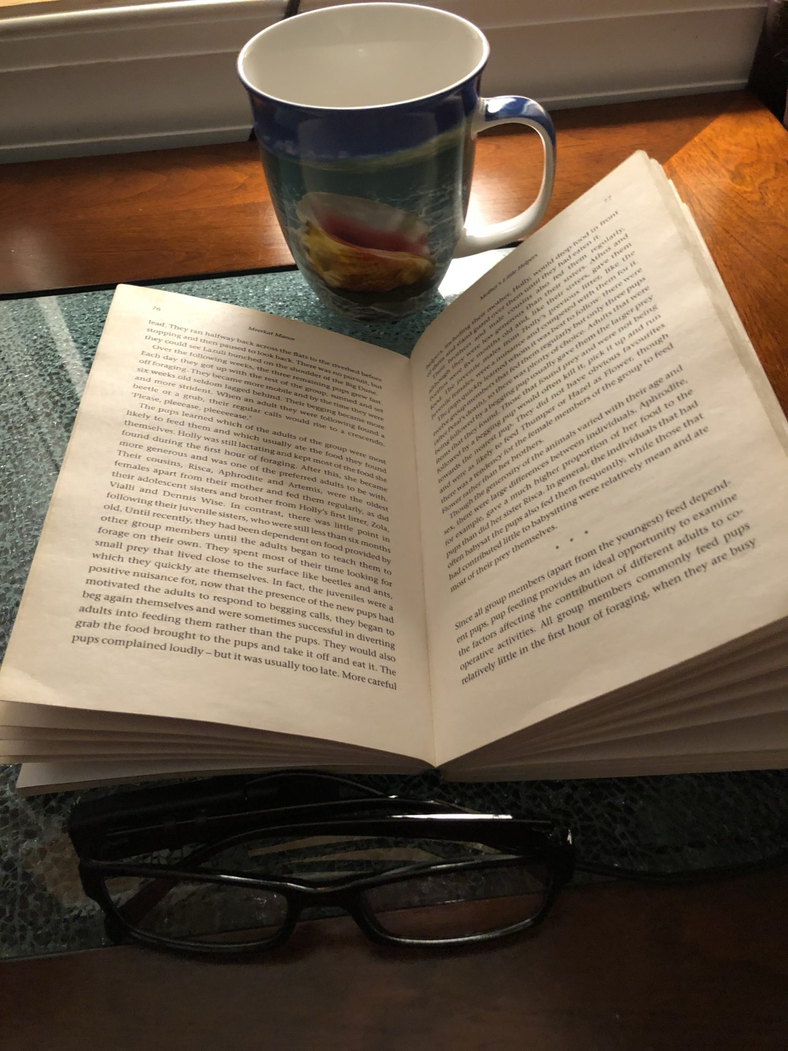 A book open on a table next to glasses and a coffee cup.
