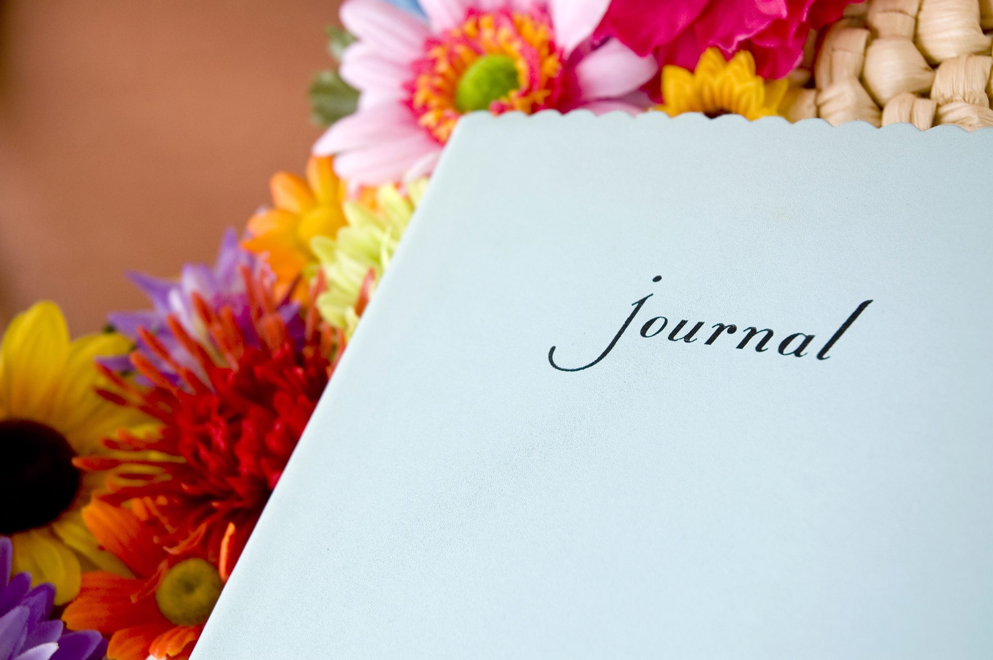 Journal with flowers.