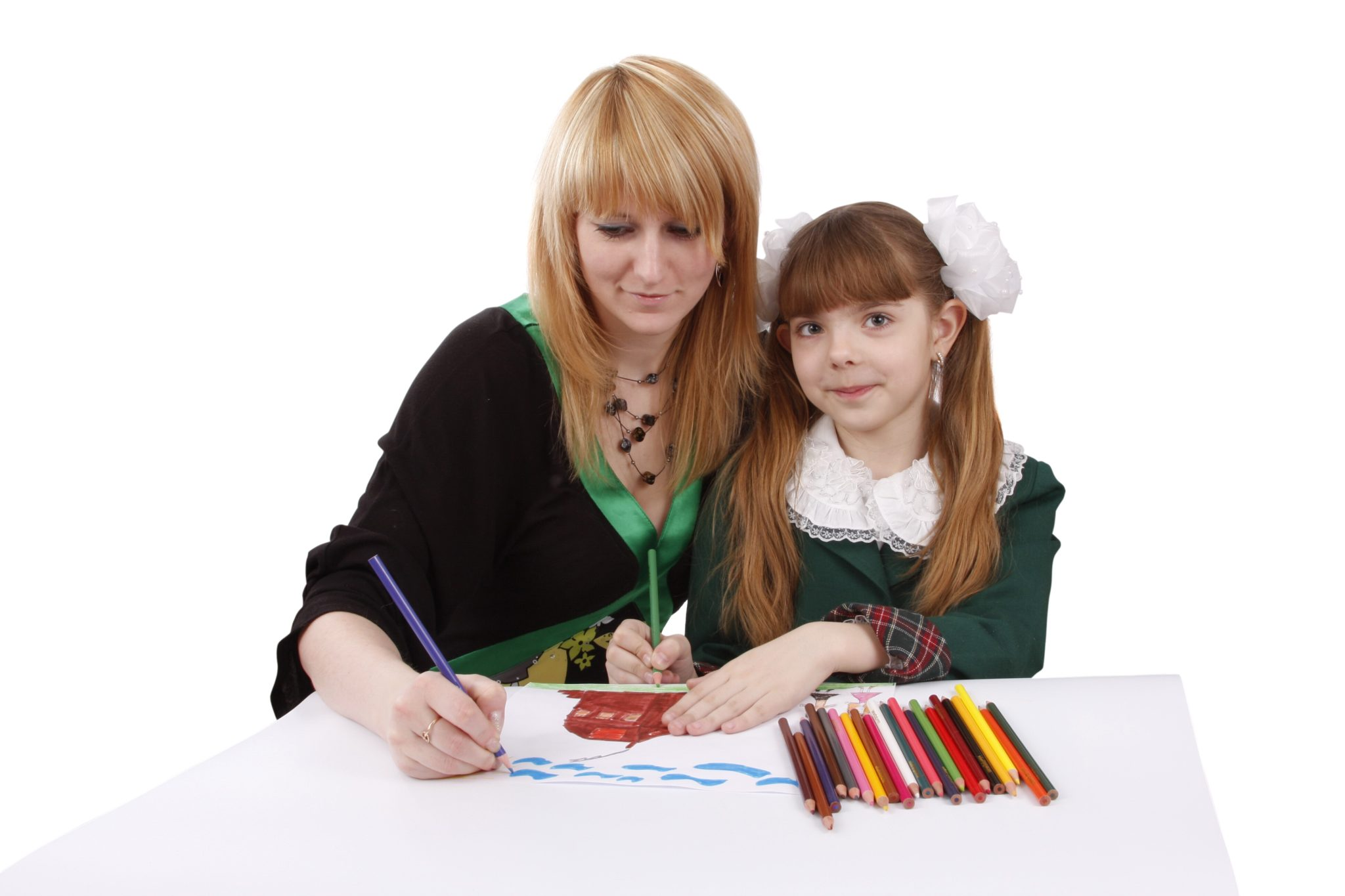 Mother and daughter painting together.