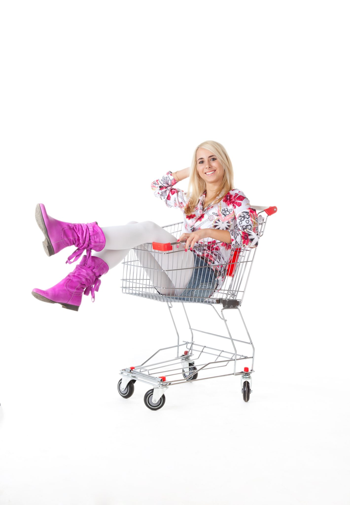 Woman with grocery cart.
