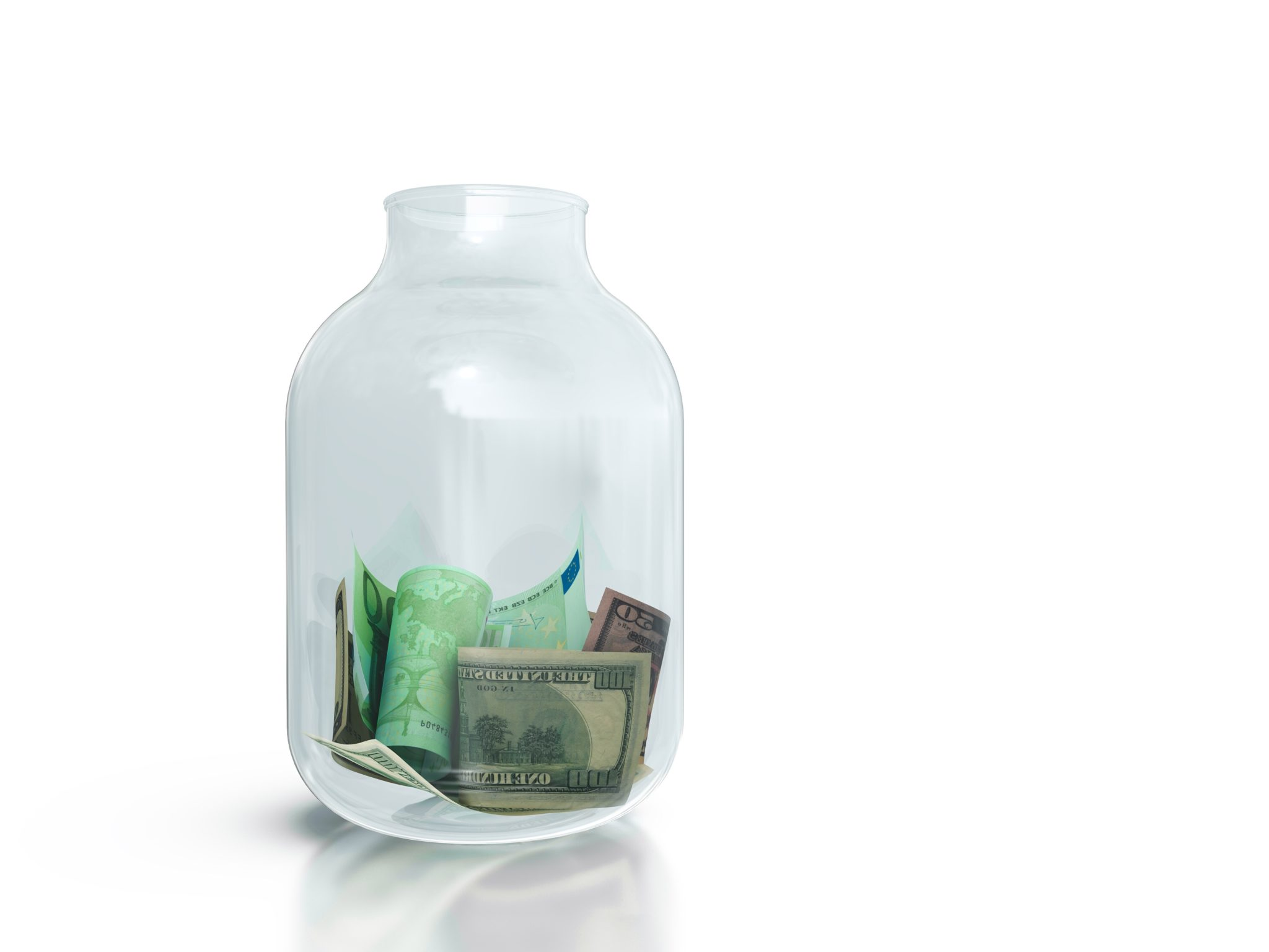 Donation jar with money.