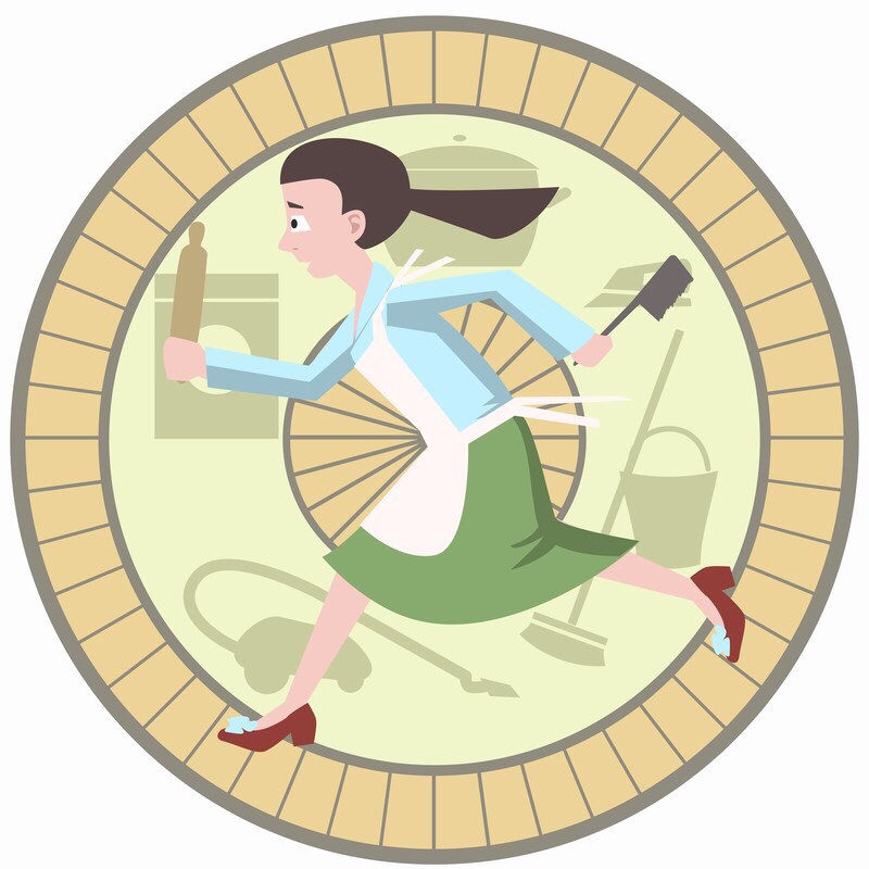 Cartoon of woman with kitchen tools running in a hamster wheel.