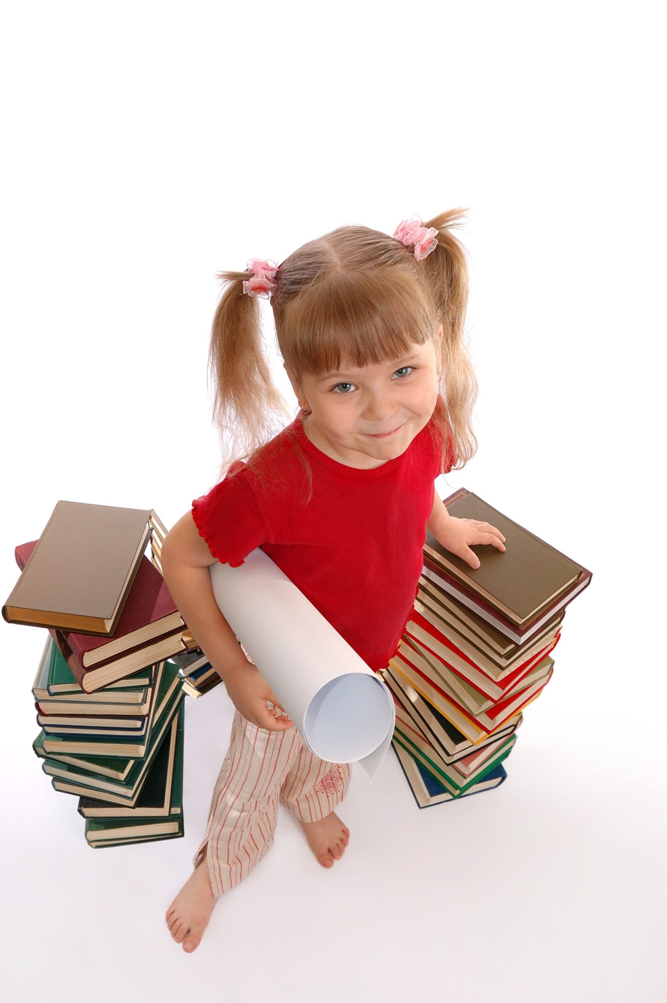 Girl with stack of books.