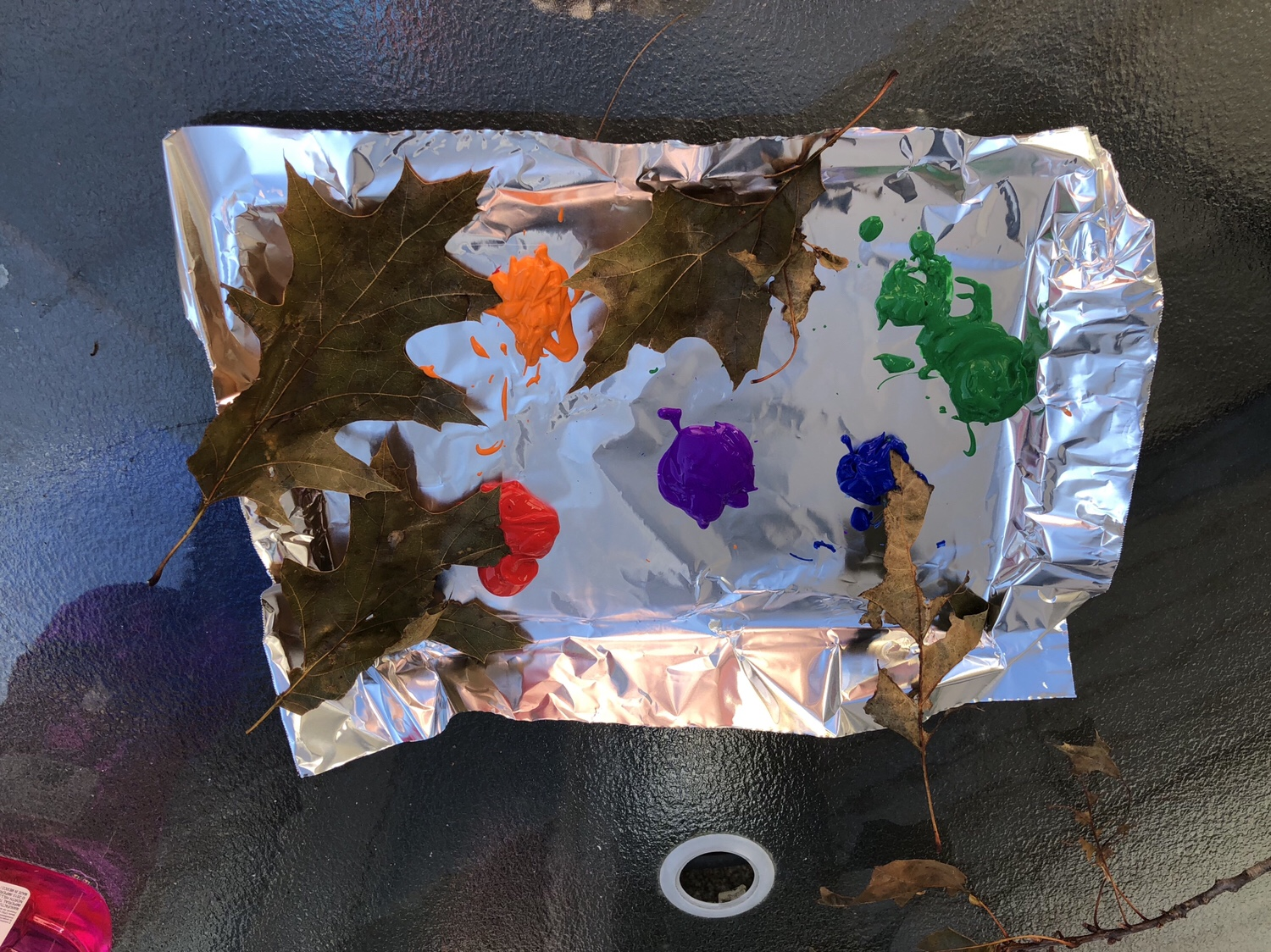 Cookie sheet with paint and leaves.