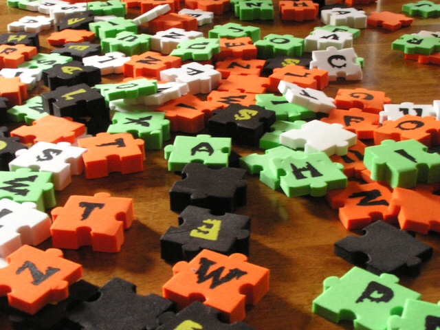 Foam letter puzzle pieces