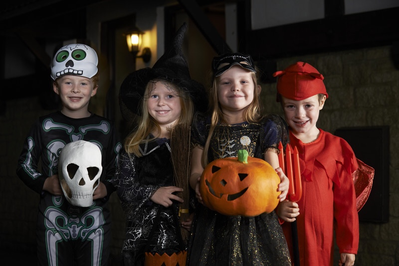 Group of trick-or-treaters