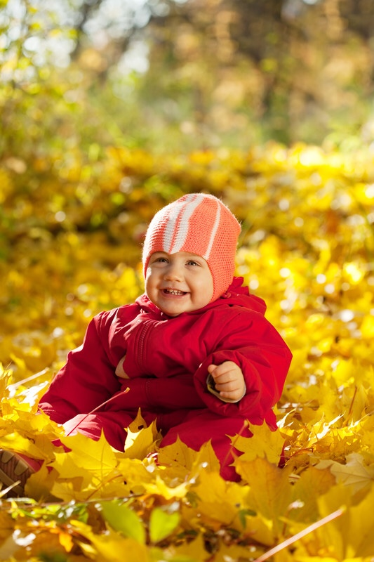 Toddler girl sitting in leaves