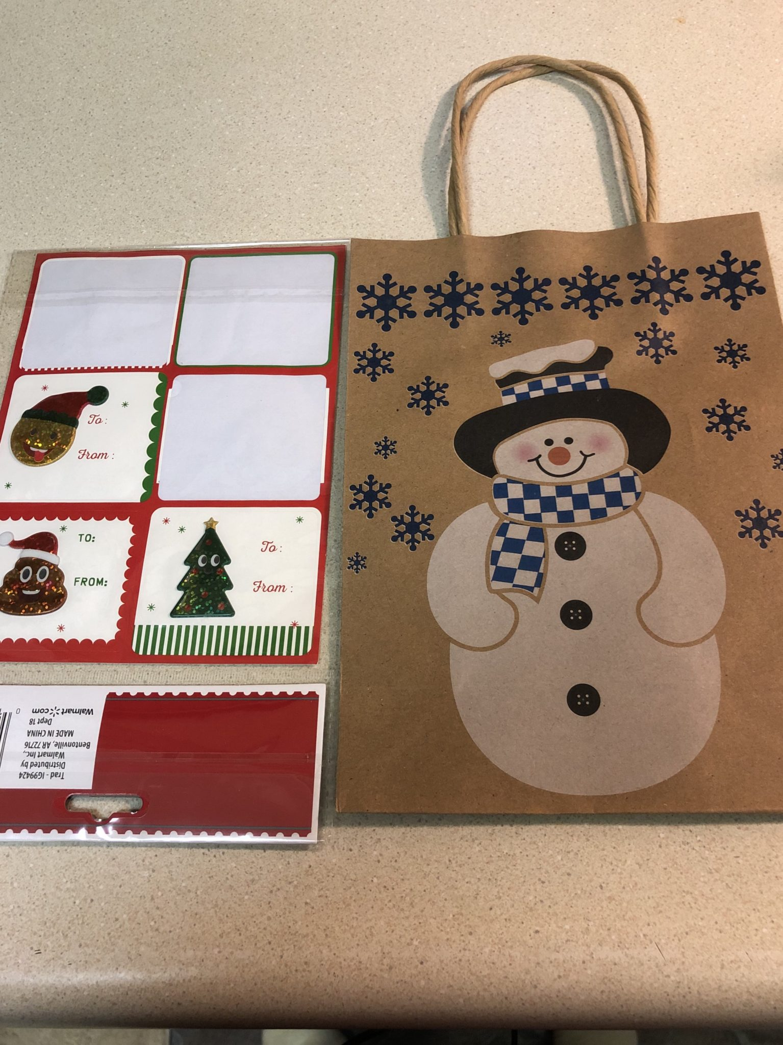 Snowman gift bags and tags