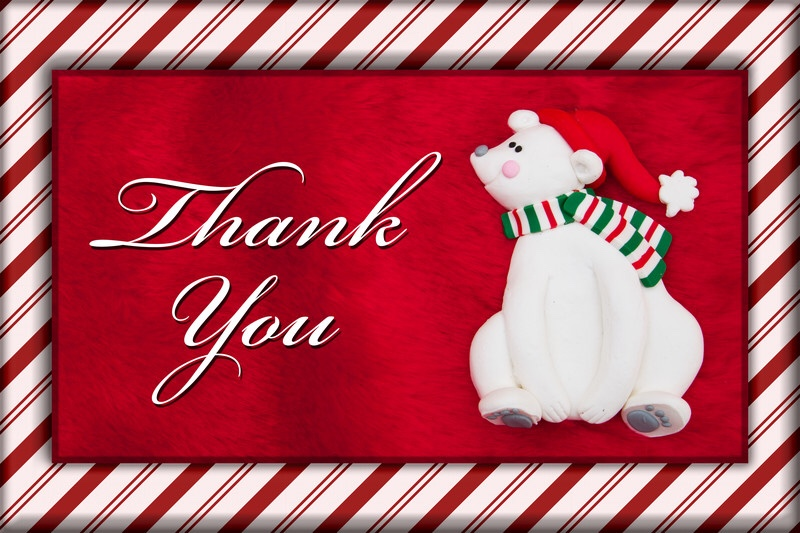 Christmas bear with thank you message