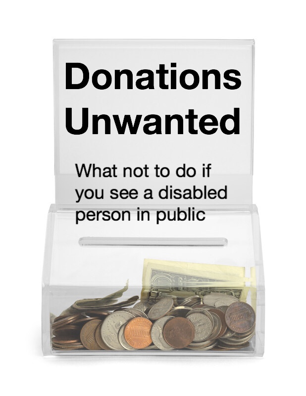 Donations Unwanted, What Not To Do, pin. Donation box with money.