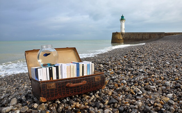 Coastline lighthouse with books in suitcase