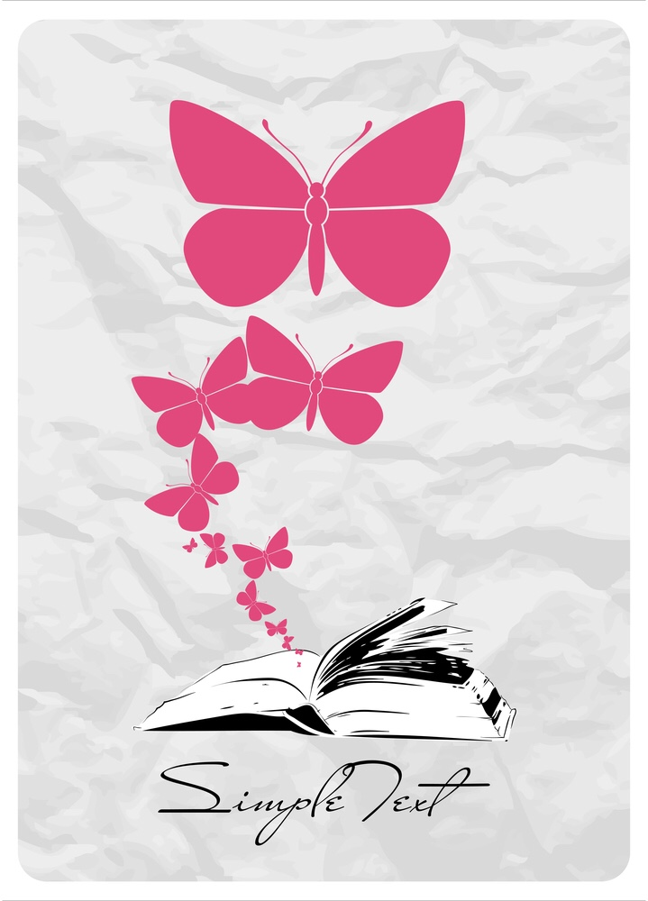 An open book with butterflies