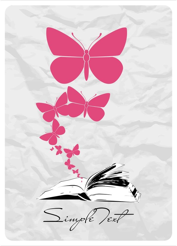 An open book with butterflies