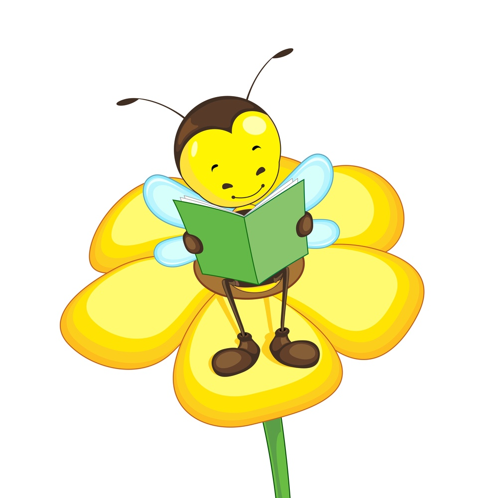 Bee reading book sitting on a flower