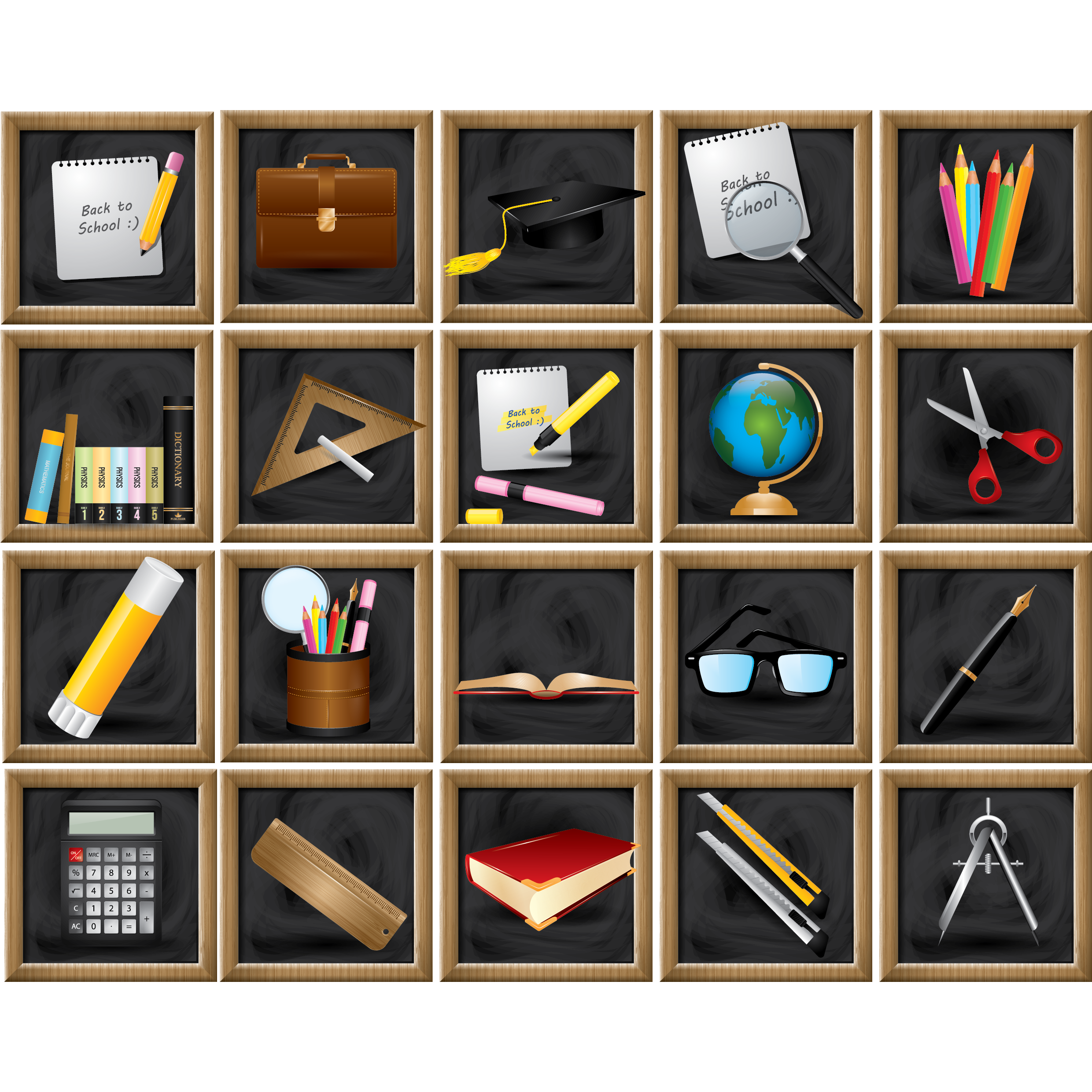 School supplies on a chalkboard.
