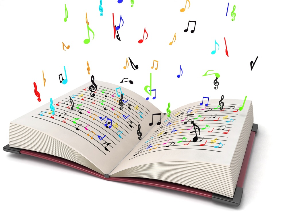 Musical notes flying out of book