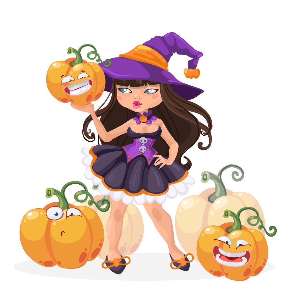 Little girl witch with pumpkins