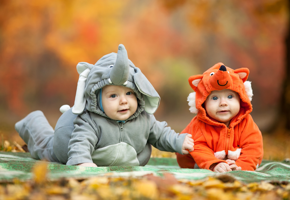 2 babies in animal costumes
