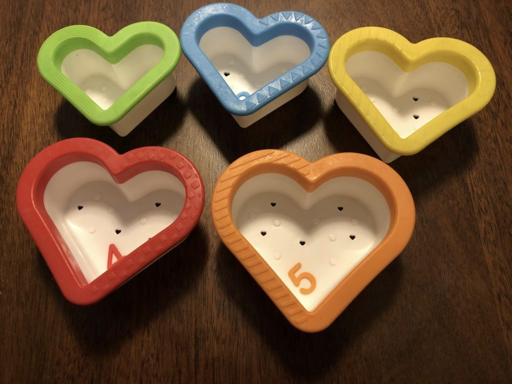 Heart shaped stacking cups