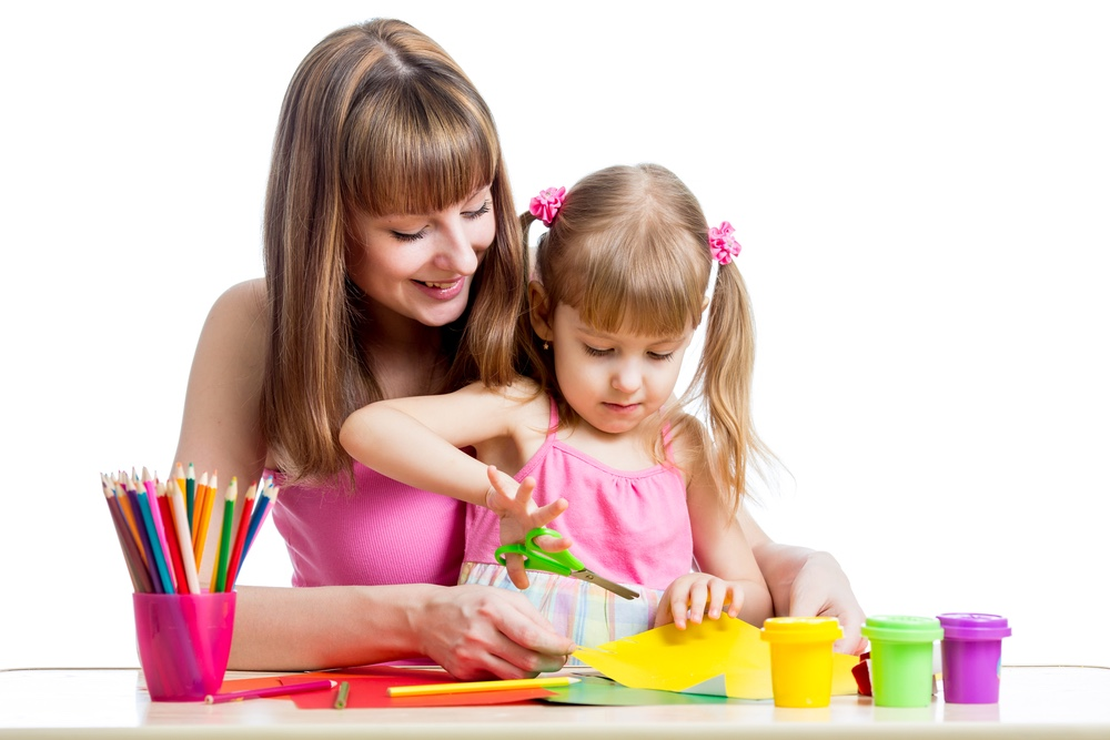 Mother and daughter doing crafts