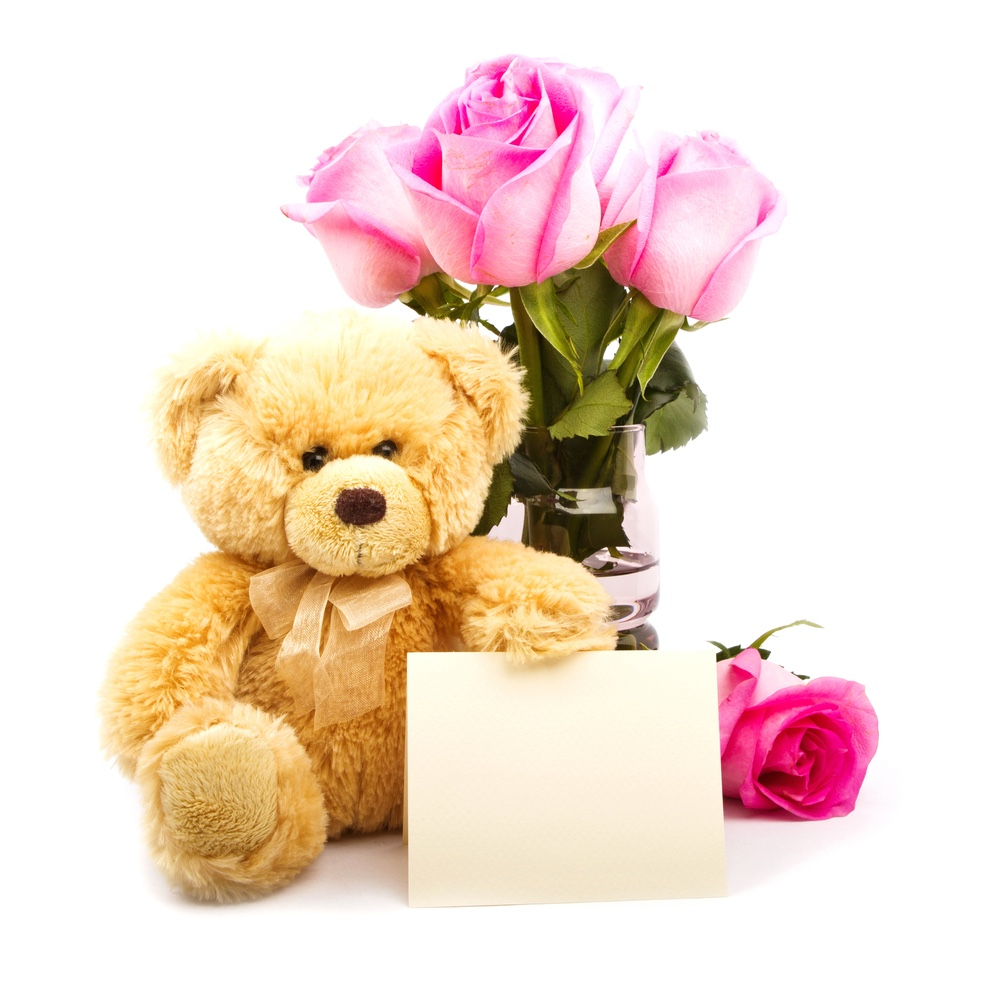 Valentine's Teddy Bear with Flowers